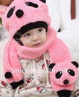 зима дети шляпа шерсть шляпа + шарф двухкомпонентный комплект панда шапка дети шапка Riot тёплый