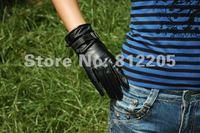 женщин / девушек мода воды черный козел кожаные перчатки с пряжкой Ren fastoner 037 - 2