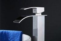 латунь хром водопад ванная умывальник умывальник миксер затычка кран смеситель для ванны с одним отверстием a7402