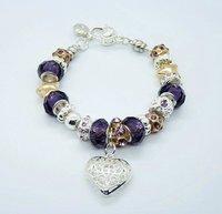 оптовая фиолетовый бисер с сердцем прелести хорошей браслет женская мода ювелирные изделия браслет, ювелирные изделия браслет