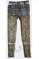 г-жа новый во время Бенни и осенней подделку cowboys показать тонкие брюки US Cars леопард печать 2 цветов