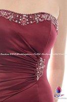 2012а + новый! ручной атласная без бретелек совок-образным вырезом платье с madematte резко бисера вырез платье вечернее платье