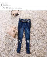 сексуальное женская мода узкие длинные брюки / свободного покроя карандаш брюки / цепочка на пояс оформлен / старший хлопчатобумажные ткани / бесплатная доставка