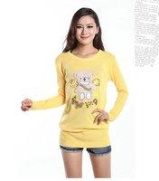бесплатная доставка, уникальный стиль, нью-коран / япония женская мода с вязаные пуловеры, дамы свободного покроя блестками медведь свитер, x2563