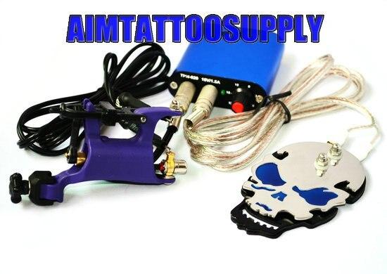 Butterfly tattoo machine Skull steel Foot switch complete tattoo kit ...