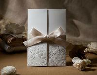 50 комплект винтажный рельефный три анти-кратным свадьба приглашение с лента бант + 50 конверты 50 уплотнения + 50 карты, печать для
