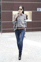 весна женщины блузка одежда свободного покроя карьера дамы топы сплайсинга асимметричный шотландка длинная рукавами рубашка