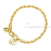 бесплатная доставка детей ребенка 18 к золото заполненные веревку цепи браслет ювелирные изделия withheart колокол шарм gb104