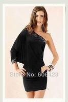 бесплатная доставка женская сексуальное черный блесток одно плечо тонкий хип мини платье Клубная одежда bodycon ну вечеринку клубные платья moban 8824