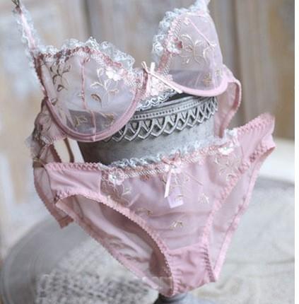 Bra & Brief Sets Free shipping Exquisite ultrathin hot sexy lace embroidery transparent underwear bra set women bra sets 9