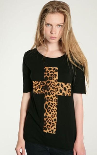 плюс размер ххl новый 2017 мода креста печати леопарда футболки женщины футболка хлопок повседневная футболка футболки топы короткие рукава
