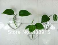 форма сердца стена цветок ваза с цветочный в отверстие, w125xh140mm, прозрачное стекло стена ваза, для украшение, 4 шт / много