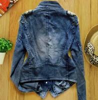 стиль женщины в Seal resin Tesla D - рукав деним джинсы куртка верхней одежды
