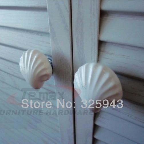 2pcs/lot Cartoon Ceramic Kitchen Cabinet Knobs White Seashell Kids ...
