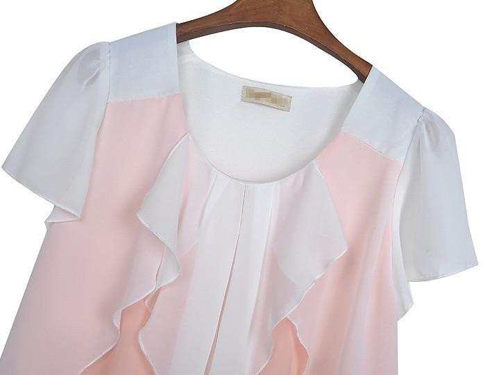 жаркое лето леди свободного покроя каскад оборками накаливания размер шифон женщины блузка трепал воротник лоскутное рубашку опционально бесплатная доставка