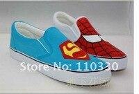 вручную рисунок супермен и человек - паук брезент обувь, обувь влюблённые, свободного покроя обувь, gs_a302