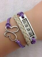 3 шт. фиолетовый и хаки старинное серебро воск шнур браслет надежда браслет бабочка провода braidedgift 1680 мин. заказ 10