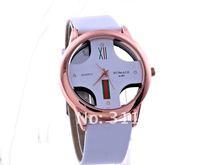 jw048 женщин выдолбленные - подарок часы продвижение обвинение кожа наручные часы женщины платье часы