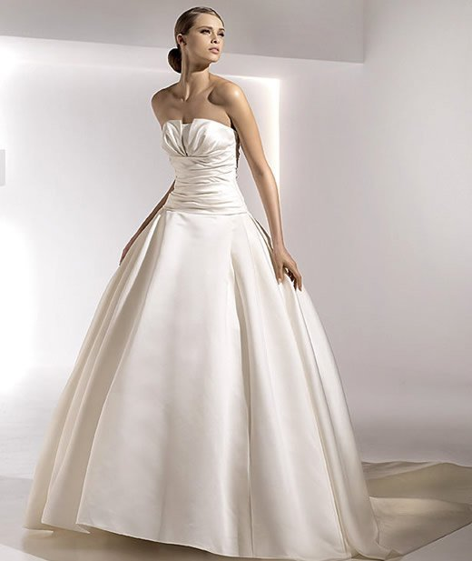 Ball Gown Wedding Dress Full Length Satin Strapless Ruffles Crumb Catcher Ons With Chapel Train1luckybride Georgia