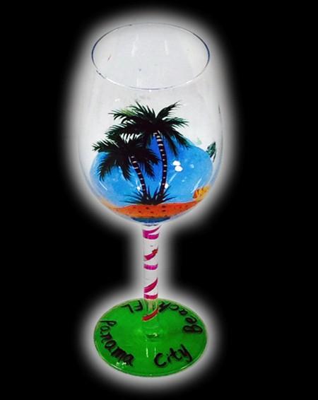 вино glass_hand ручная роспись glass_party decoration_coconut дерево стиль