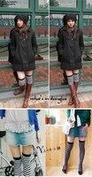 чулки новый осень зима черный и белый полосы чулки на колено студенты носки