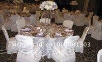 бесплатная доставка шоколад-коричневый раффлед спандекс Банкетный стул с кольцо с блестяще