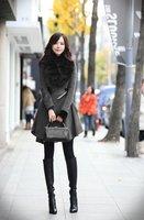 бесплатная доставка! горячая распродажа! новая зимняя тонну Tale элегантный женский грудь пальто большой меховой верхней одежды стоит