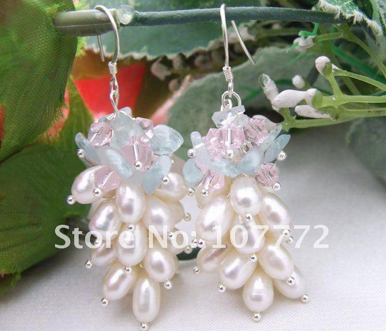 purple crystal earring-925 silver hook  free+ shippment
