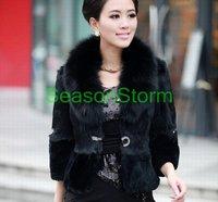 ЭМС бесплатная доставка ] новое дамы мода Рекс-кролика рог рукав пальто с воротником / зима куртка
