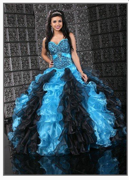 Animal Print Turquoiseblack Taffeta Organza Ball Gown Quinceanera