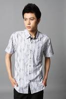 лето мужчины корейской sripe рубашки модный свободного покроя мужчины хлопок узкие рубашка новый бренд горячая распродажа с коротким рукавом площадь одного-сократить воротник 110xm