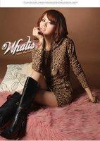 бесплатная доставка хлопок леопард с длинным рукавом женская свободного покроя платья для весна и осень горячая распродажа