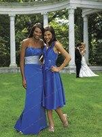 линия королевский синий реальное изображение сексуальное оптовая продажа простой дизайн простой свободного покроя оборками платья для подружек невесты