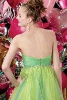 нового зеленый рождество платье-линии милая блестками органза мини с коротким мода новый складки коктейльное платье / нарядное платье