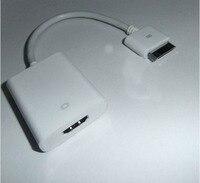 бесплатная доставка! новый белый высокое качество микро-HDMI кабель конвертер для iPad / для iPhone / кабель для iPod, выход HDMI и монитор проектор