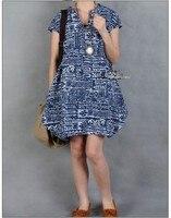 бесплатная доставка воды города Корк вкус печать с рукавом платье широкий большой размер хлопок давай ядер мод платье