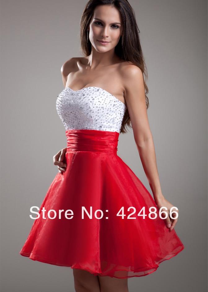 Vestidos de fiesta blanco con rojo