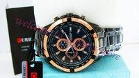 packbox / марка круг циферблат сталь лента мужчины в кварцевый до запястья часы / 8023 до запястья часы / черный лента золото чехол / свободного покроя