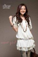 бесплатная доставка распродажа мода корейской версии весна и лето с короткими рукавами шифон / рюшами платье js1056
