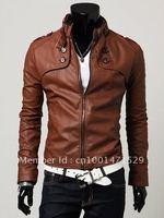 мода классические мужские искусственная кожа пальто куртка молния украшенные кнопки тонкие облегающие коричневый бесплатная доставка mz11083002-1