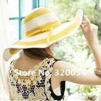5 шт./в лот летом соломенная пляж шляпы, солнце шляпы для женщин, многоцветный бесплатная доставка