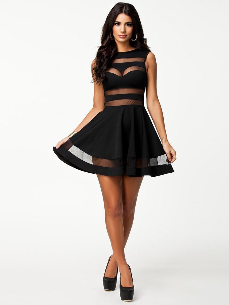 High Quality Elegant Vintage Black mesh Insert Skater Dress Sexy ...
