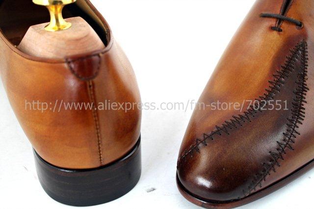 Free shipping custom handmade genuine calf leather men\'s oxford shoe color brown No.OX195 mackay craft