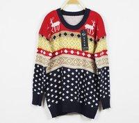 бесплатная доставка продвижение на рождество олень цвет широкий длинный рукав свитера