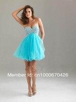 новый в наличии синий короткие бисера органзы бальное / ну вечеринку / возвращения домой / свадебные платья / размер 6-8-10-12-14 на заказ бесплатная доставка