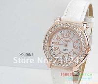 новый корея свободного покроя мода благородный бренд вист часы, кожаный ремень, декор часы с бриллиантами мужчины / женщины часы
