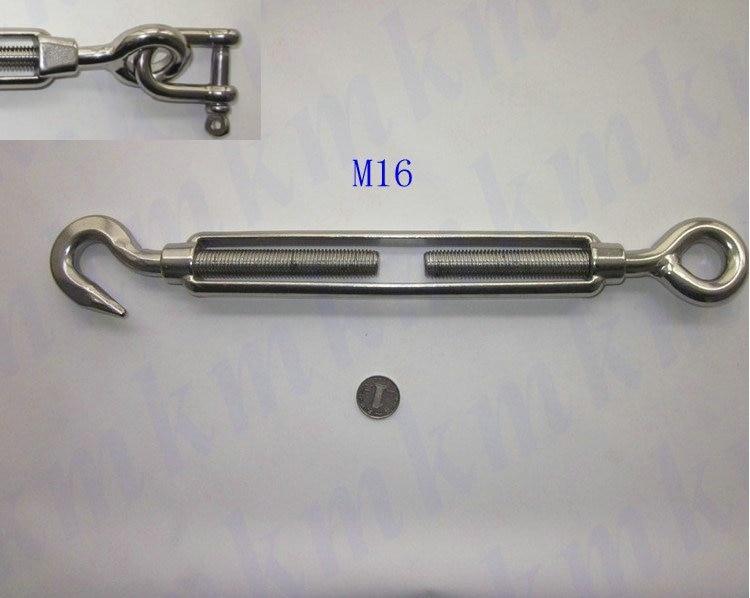 הטיית חומרה M12 לנו סוג פלדת אל-חלד חוט חבל ימית חומרה 304 turnbuckles עם עין לחבר
