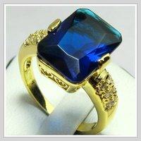 палец кольцо 18 к желтое золото благородный GP и сапфир кольцо # 8