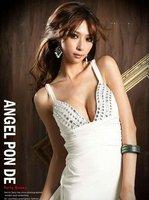 сексуальная элегантный женский стренч глубокий с V-образный вырез с открытой спиной стразовая платье-макси вечернее платье 084