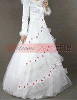 высокое качество свадебное платье длиной до пола платье невесты развертки щетка-поезд рукавов без бретелек с бантом цветок a176